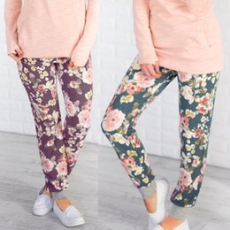 jerrysu8 Women's features printed beam foot movement Slim casual pants
