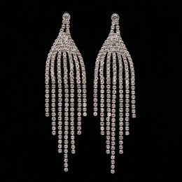 Fashion Jewelry Crystal Water Drop Earrings for Women Elegant Rhinestone Silver Color Wedding Earrings The bride adorn article