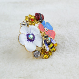 European and American jewelry inlaid diamond glaze decorations flowers petals opening ring wholesale female ladybug