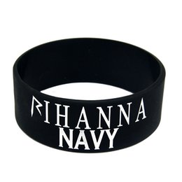 Wholesale 50PCS Lot Rihanna Navy Silicone Wristband Great For Music Fans To Show How You Support Your Idol