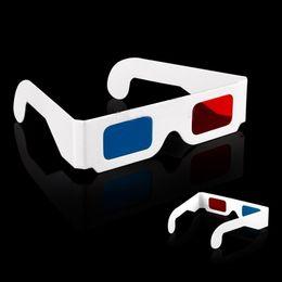 Película al rojo vivo en Línea-2016 cristales unisex calientes de la manera 3D, venta al por mayor Vidrios de papel dimensionales de Anaglyph de la tarjeta Google 3D Glass Red-Cyan (azul) para el juego de la película
