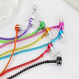 Zipper Stereo 3.5mm Jack Bass metal Earbuds Earphones headset in ear Metal with Mic and Volume Earbuds Zip for Smart Phone Samsung s5 MP3
