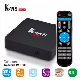 Amlogic android à vendre-KM8 PRO Android 6.0 TV BOX Amlogic S912 Octa Core 2G / 16G Bluetooth 2.4G / 5GHz WIFI 1000M LAN Mieux que X96 A95X M8S