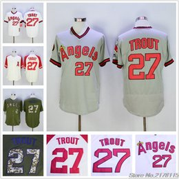 Mike Trout Jersey White Grey Green Cream 2016 New style 1980 Throwback All Stitched baseball jerseys Free Shipping