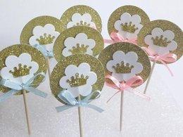 Descuento magdalena de bienvenida al bebé de la princesa Princesa o Princesa Gold Glitter Corona Partido Decoración Selecciones Cupcake Toppers fiesta de bienvenida a los niños de cumpleaños de la boda partido palillo de dientes 30pcs