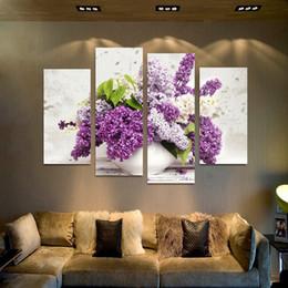 Скидка фотографии панели 4 Панель Современные цветы лаванды холст картины на холсте стены искусства Modular Pictures Home Decor для гостиной без рамки