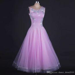 New Ballroom Dance Dress Modern Waltz Tango Standard Purple Rhinestone Dance Dress Size S-XXL Custom A105