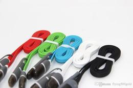 Descuento cargos cables iphone Cable de datos micro de la sinc. Del USB 2in1 de la alta calidad que carga el alambre 1M adaptador plano de los tallarines de los 3ft para el sumsang del iphone