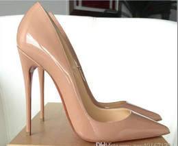 Wholesale 2016 new women pumps loubiton Black Patent Pigalle So Kate mm Heels high heels pigalle sexy nude pumps pointed toe patent leather pumps
