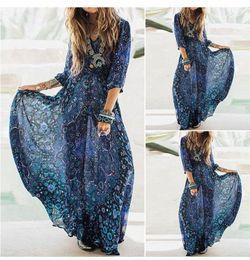 Women vintage printing maxi Dress loose retro long sleeve long dress Vestidos femininos brand design fashion casual summer dress