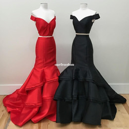 New Designer Popular Prom Dresses Two Piece Mermaid Off the Shoulder Sleeveless Evening Dress Tiered Satin Sweep Train Special Occasion Dre