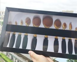 Wholesale pro Toothbrush Shape Oval Makeup Brush Foundation Powder Eyebrow Make up Brushes Beauty Tools ROSE Gold black set