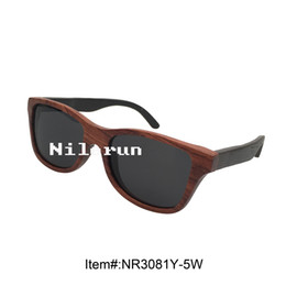 unique two tone of red wood frame ebony wood temples sunglasses