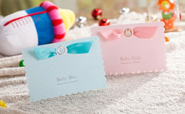 Wholesale Wishmade pink blue baby child invitation cards kit CW5301 custom personalized with envelopes seals personalized printing