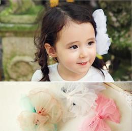 Fille accessoires pour cheveux clips à vendre-Accessoires pour cheveux pour enfants Filet de filles BOWS épingle à cheveux princesse cheveux de haute qualité pinces à cheveux style coréen Tose en dentelle fille T0674