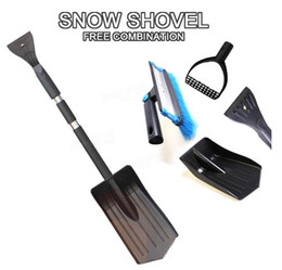 Wholesale Car Snow Brushes Scrapers - Free Shipping !!! Ice Snow Scraper Combination Winter Vehicle Windshield Car Brush ShovelRetractable Removal Black Your Best Choice