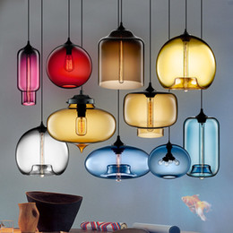 Wholesale Modern Chandelier Vintage Glass Ceiling Lamp Pendant Lights Chandelier Glass Lampshade Loft Pendant Lamps E27 V V Lighting Fixture