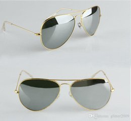Espejo de cristal clásico en Línea-Gafas de sol de cristal del espejo del marco del oro de las lentes de la alta calidad Gafas de sol de las nuevas mujeres de la manera Gafas de sol del Mens los nuevos vidrios de sol clásicos 58m glitter2009