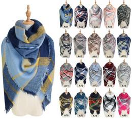 Hot Scarves Plaid Blanket Scarf Women Tartan Tassels Scarf Grid Shawl Wrap Lattice Neckchief Cashmere Muffler Fashion Winter Check Pashmina
