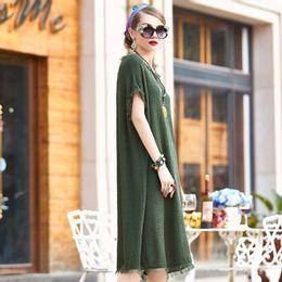 Asymmetrical festival party dresses flared sleeves fringes Cotton blending dress curve shape tassels Summer dress 2017