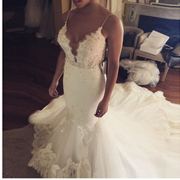 Saudi Arabic Mermaid Wedding Dresses With Spaghetti Straps Plunging Sheer Beads Lace Appliques Beach Bridal Dress Cheap Sexy Wedding Gowns