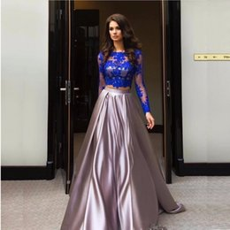 New Vintage 2017 A Line Prom Dresses Long Sleeves Two Pieces Formal Evening Gowns For Party Pageant Dresses Plus Size mz