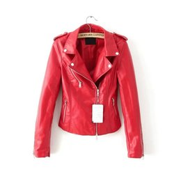 Desconto revestimento da motocicleta longas de couro Senhoras motocicleta lavagem PU jaquetas de couro Faux vermelho jaqueta de couro primavera casacos de Outono mulheres moda roupas Outwear sobretudo luva longa