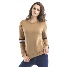 Autumn and Winter Sportswear New Women's Wear Long Sleeve and Suede Sanitary Clothing Round-collar Letter Embroidery Khaki Color Blouse