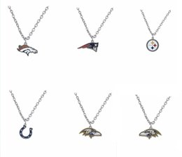 Wholesale 20pcs American Football Steelers Baltimore Colts Logo Enamel Pendant Necklace Fashion Jewelry Fans Gifts AH103941