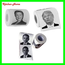 Wholesale Gag Gifts New Toilet Paper with Donald Trump Hillary Clinton Barack Obama Photo Printing layer Toilet Paper with Printing Drawing