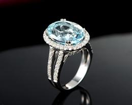 Bague en or aquamarine à vendre-Livraison gratuite Sol 14K en or blanc véritable diamant Aquamarine Sparkly naturelle diamant très agréable (R0130)