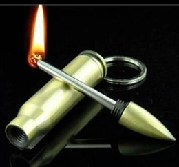 Wholesale Portable Safety permanent Match keychain lighter Stainless Steel Bullet Box oil Million Times Cigarette Lighters Color Gold