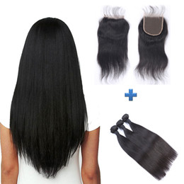Free Shipping Peruvian Straight Virgin Human Hair 4x4 Lace Closure with 3 Bundles Real Human Hair Double Weft Extensions Natural Color