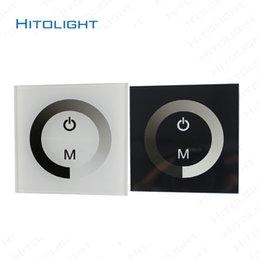 24v диммер панель для продажи-HITOLIGHT DC12-24V настенный стекло сенсорной панели Светодиодный контроллер для одного цвета светодиодные полосы 5050,2835 2 ключа диммер настенный выключатель