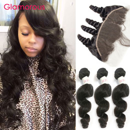 Glamorous Brazilian Virgin Hair Weaves 3 Bundles with Lace Frontal Closure Unprocessed Brazilian Human Hair Frontal with Loose Wave Hair