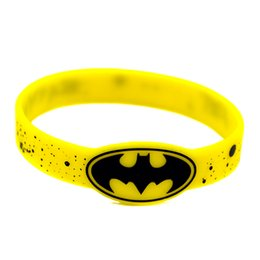 Wholesale Shipping 50PCS Lot Batman Logo Wrist Watch Shaped Silicon Bracelet Ink-Filled Colour for Give Away Gift