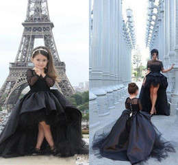 Wholesale 2016 Cheap Lace Long Sleeves High Low Mother Daughter Adult Women Dress Little Girls Pageant Dress Black Jewel Formal Party Prom Dresses