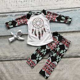 Wholesale girls dream catcher clothing babay Fall outfits baby boutiques clothing baby girls Azect pant set with headband