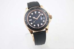 Wholesale Luxury Superlative Chronometer Automatic Mechanical Men s Wristwatch Black Dial With Calendar Rubber Bracklet Folding Clasp Yacht Male Watch