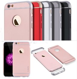 Luxury 3 in 1 Shinny Arc + Rose Gold PC Plating Back Cover For iPhone 5SE 6S 7plus Hard Plastic PC Case Ultra Slim for Samsung Galaxy S6 S7