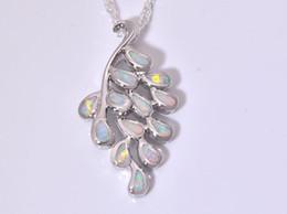 Wholesale & Retail Fashion Jewelry Fine White Fire Opal Stone Silver Plated Pendants For Women PJ16011715