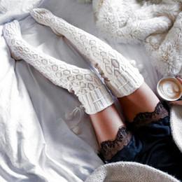 Compra Online Niñas de arranque blanco-Venta al por mayor- Moda Mujer Cable Knit Extra Bota Larga Calcetines Sexy Muslo Muslo Alta Escuela Medias Púrpura / Blanco Knitted Long Knee Calcetines