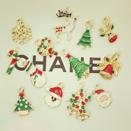 Wholesale 50PCS Assorted Design Christmas pendant Santa Claus Tree Bell Snowman Candy Stick Snowboot House Charm Jewelry Findings