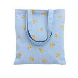 Wholesale Naivety New Canvas Women Banana Printing Shoulder Bag Shopping Bags Travel Tote Bolso De Compras S61006
