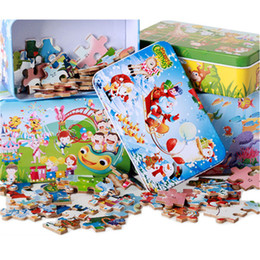 Wholesale Multistyle Wooden puzzles Cartoon Animal Traffic police Amusement Park iron box pack portable puzzle toys Children s great gifts