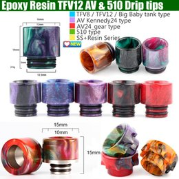 Top Epoxy Resin SS drip tips Colorful Wide Bore 510 dripper tip Mouthpiece for TFV8 TFV12 Big Baby Tank Kennedy AV24 RBA atomizer Package
