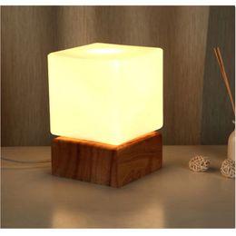 Wholesale Carola Creative Table Lamp Square Cute Baby Feeling Lamp Wedding Bedroom Warm Bedside Lamp Bulb W Milk white lampshade
