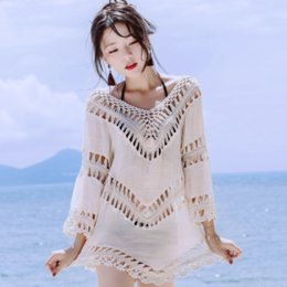 2017 new summer cotton lace bikini beach cover up dress sexy hollow out bathing suit coats blouse