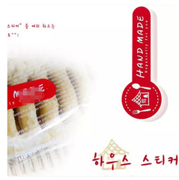 RED handmade paper sticker label food or lolly DIY box seal printed sticker label