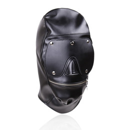 Erotic Sex BDSM Bondage Faux Leather Zipper Hood for Adult Play Games Full Masks Fetish Face Blindfold for Couple Games
